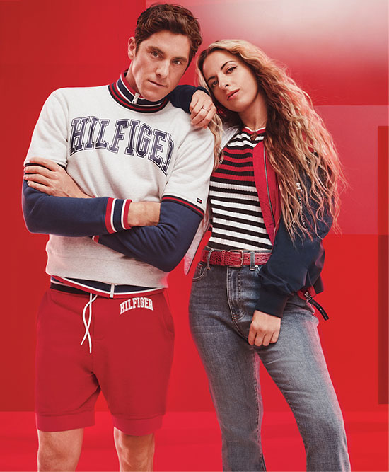 Man and woman wearing Tommy outfits.