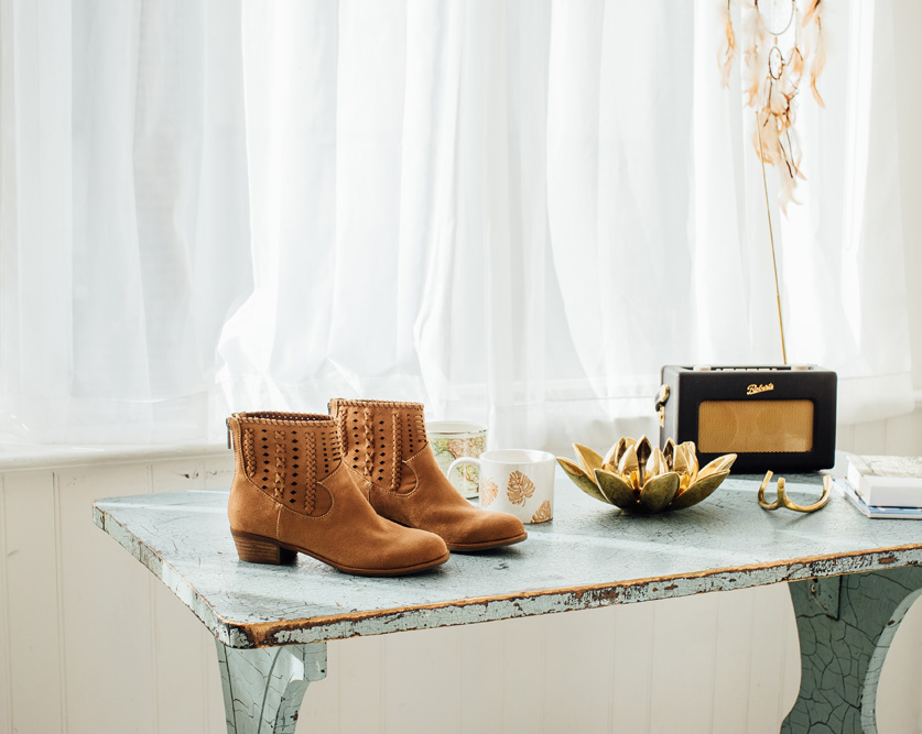Indigo Rd. booties on table.