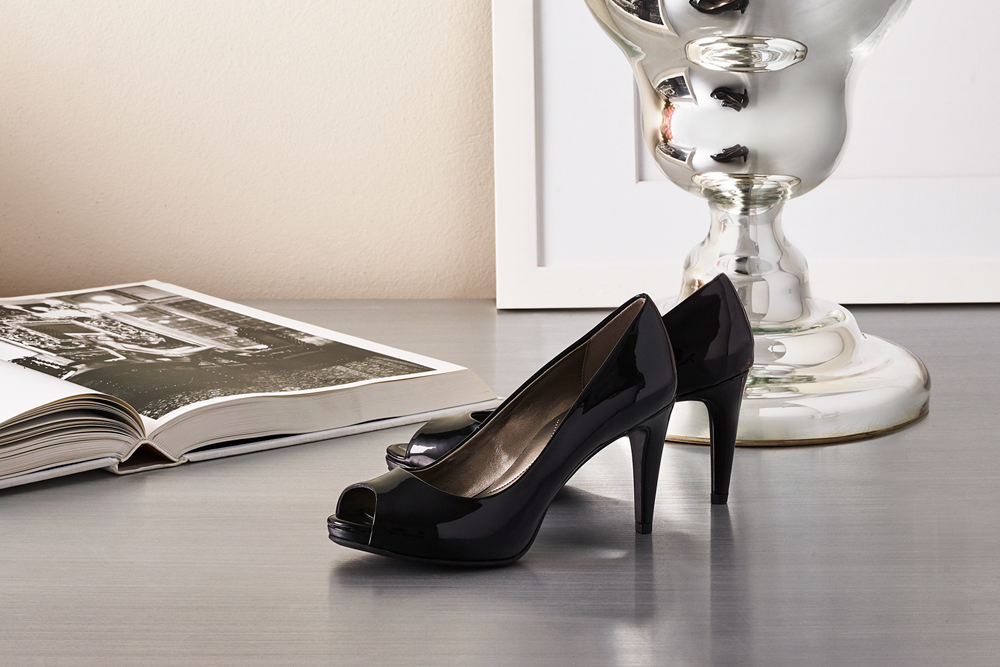 Pair of black Bandolino heels.