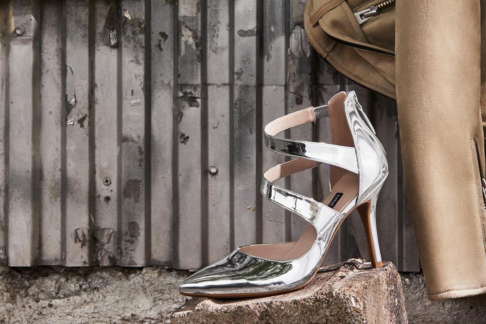 Silver Nine West heels.